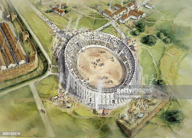 Chester Roman Amphitheatre c2nd century Aerial view reconstruction drawing of the amphitheatre in c100 AD The amphitheatre dates from the 1st century...