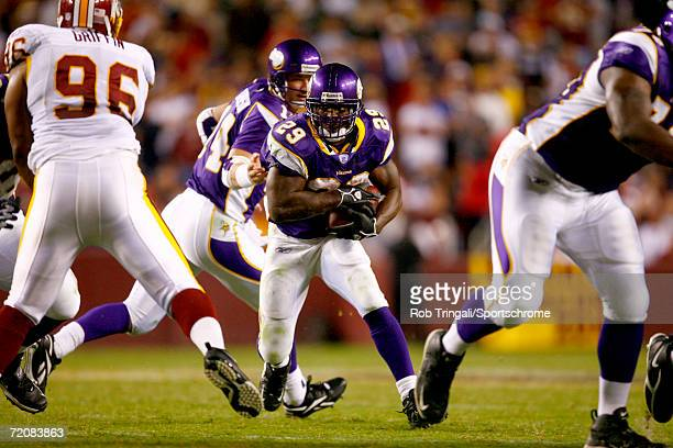 Chester Taylor of the Minnesota Vikings runs with the ball against the Washington Redskins on September 11, 2006 at FedEx Field in Landover,...