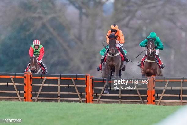 Chester Williams riding Gladiateur Allen clear the last to win The Matchbook Betting Exchange British EBF 'National Hunt' Novices' Hurdle at Ascot...