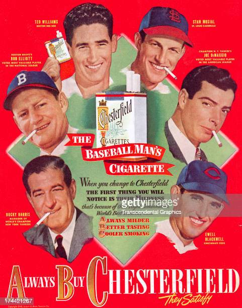 Chesterfield cigarettes hires baseball players to advertise their products in a magazine ad from around 1950 produced in Durham North Carolina The ad...