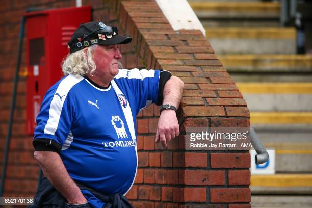 Chesterfield fan watches the game during the Sky Bet League One match between Chesterfield and Shrewsbury Town at Proact Stadium on March 11 2017 in...
