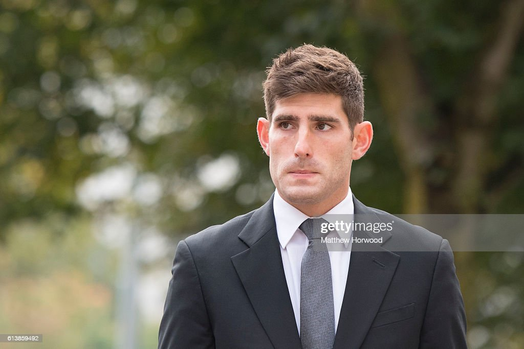 Chesterfield F.C football player Ched Evans arrives at Cardiff Crown Court for his retrial for rape on October 11, 2016 in Cardiff, Wales. The former Wales striker was jailed in 2012 for raping a 19-year-old woman, but had his conviction quashed by the Court of Appeal in April.