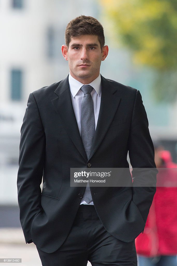 Chesterfield F.C football player Ched Evans arrives for retrial on rape charges at Cardiff Crown Court on October 11, 2016 in Cardiff, Wales. The former Wales striker was jailed in 2012 for raping a 19-year-old woman, but had his conviction quashed by the Court of Appeal in April.