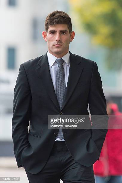 Chesterfield F.C football player Ched Evans arrives for retrial on rape charges at Cardiff Crown Court on October 11, 2016 in Cardiff, Wales. The...