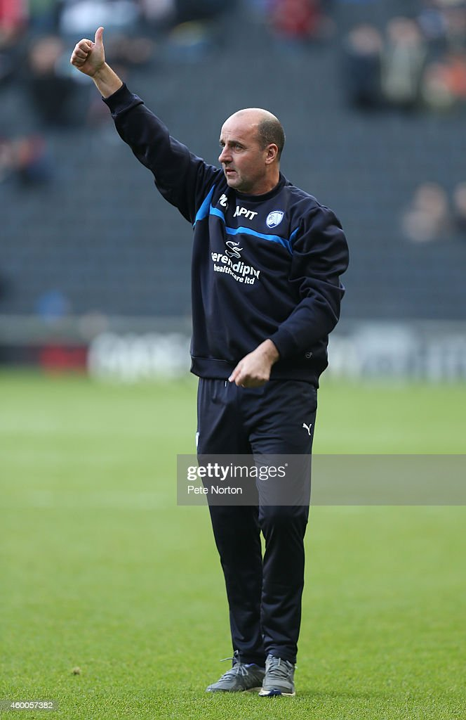 Chesterfield manager Paul Cook acknowledges the Chesterfield fans prior to the FA Cup Second Round match between MK Dons and Chesterfield at Stadium mk on December 6, 2014 in Milton Keynes, England.