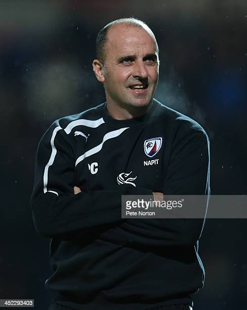 Chesterfield manager Paul Cook looks on during the Sky Bet League Two match between Chesterfield and Northampton Town at Proact Stadium on November...