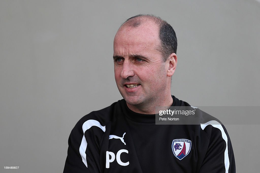 Chesterfield manager Paul Cook looks on prior to the npower League Two match between Chesterfield and Northampton Town at the Proact Srtadium on January 12, 2013 in Chesterfield, England.