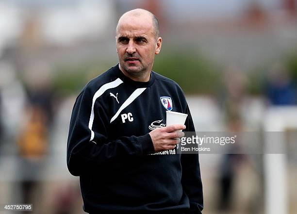 Chesterfield manager Paul Cook looks on prior to the Sky Bet League Two match between Newport County AFC and Chesterfield at Rodney Parade on...