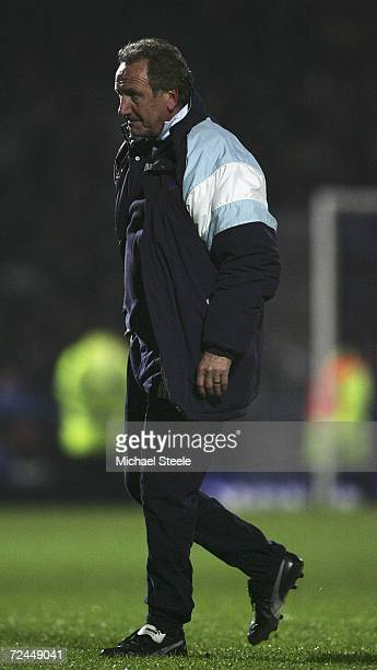 Chesterfield Manager Roy McFarland walks from the playing area during the Carling Cup Fourth Round match between Chesterfield and Charlton Athletic...