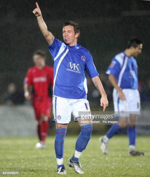 Chesterfield's Darren Currie celebrates his goal during the FA Cup Second Round Replay at Butchers Arms Ground Droylsden