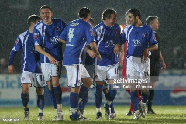 Chesterfield's Darren Currie celebrates his goal with teammates