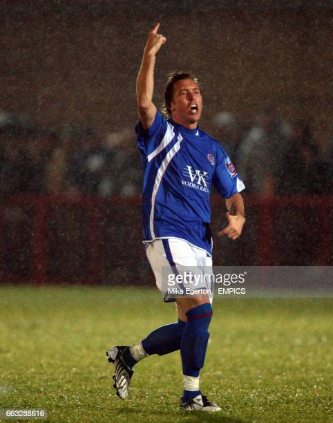 Chesterfield's Darren Currie celebrates scoring his sides second goal