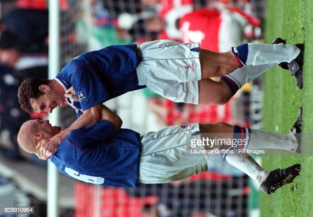 Chesterfield's Sean Dyche and Jamie Hewitt celebrate after drawing 33 with Midlesborough during today's FA Cup semi final at Old Trafford Photo by...