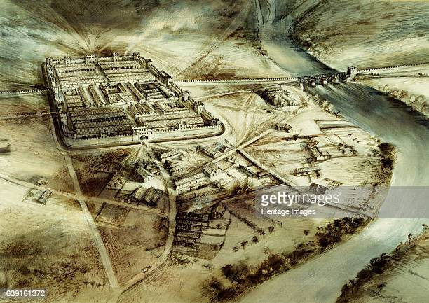 Chester's Roman Fort c2nd century Hadrian's wall Northumberland Reconstruction drawing of aerial view of fort Built just after the wall was completed...