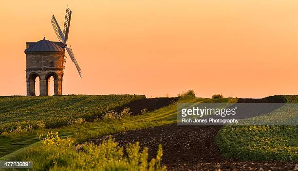 chesterton windmill at sunset - chesterton stock photos and pictures