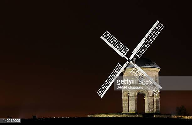 chesterton windmill by floodlights - chesterton stock photos and pictures