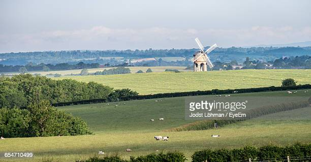 chesterton windmill on green field against sky - chesterton stock photos and pictures