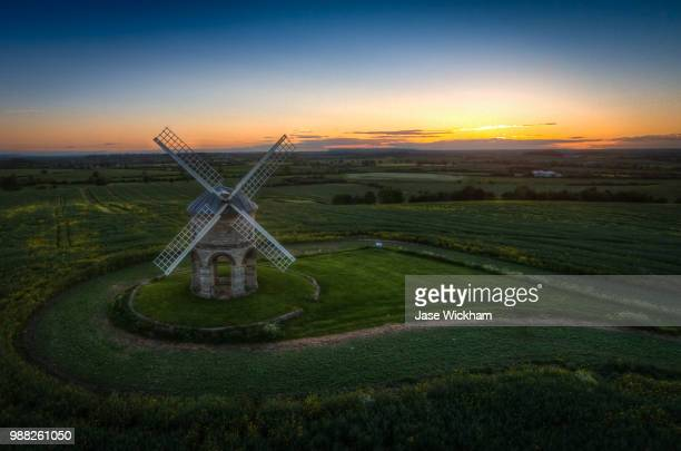 chesterton windmill sunset redux - chesterton stock photos and pictures