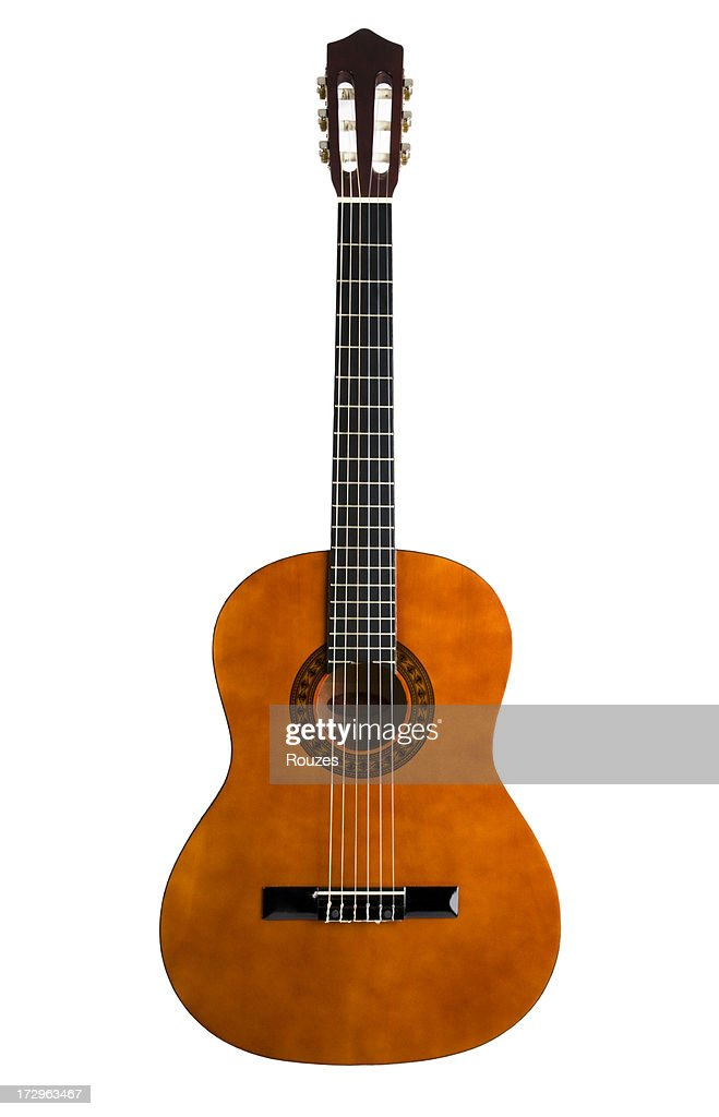 Chestnut colored 6-string acoustic guitar : Stock Photo