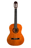 Chestnut colored 6-string acoustic guitar