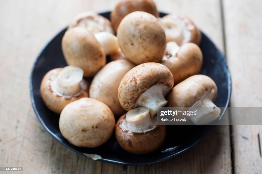 Chestnut mushrooms on plate : Stock Photo
