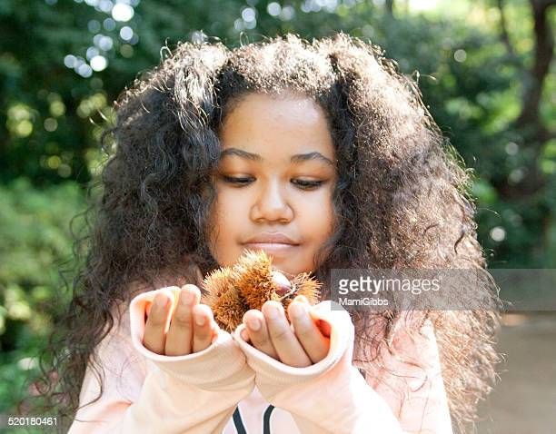 chestnut on the girl's hands - mamigibbs stock photos and pictures