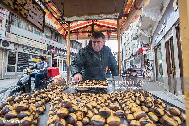 chestnut seller in istanbul - chestnut food stock pictures, royalty-free photos & images