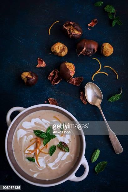 chestnut soup - châtaigne photos et images de collection