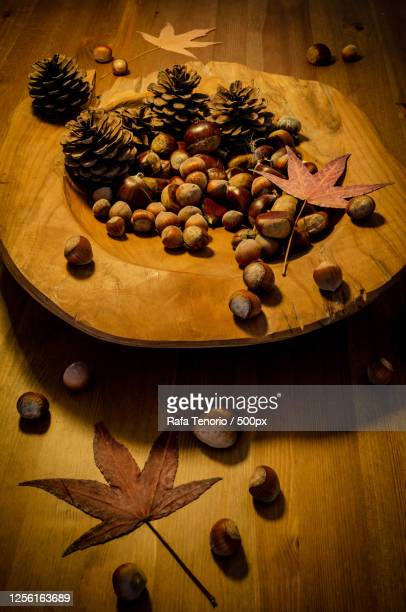 chestnuts and hazelnuts in wooden bowl on wooden table, pontevedra, spain - ビネット ストックフォトと画像