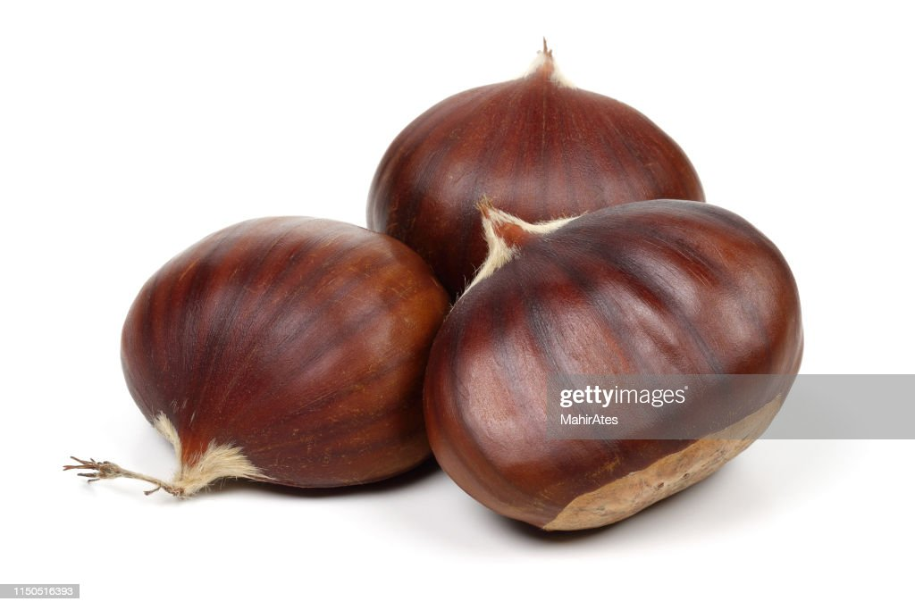 Chestnuts isolated on white background : Stock Photo