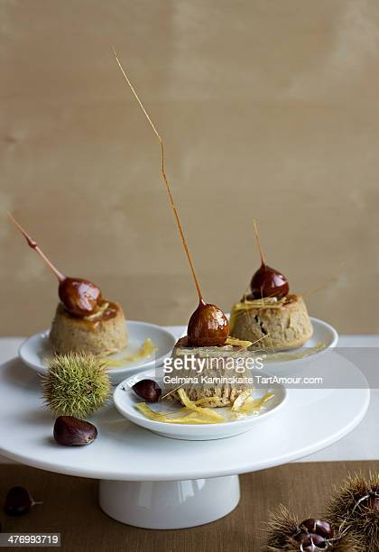 chestnuts puddings with a ginger syrup