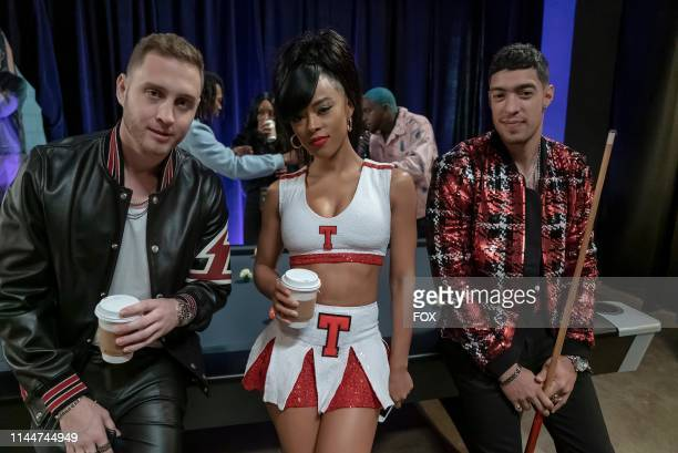 Chet Hanks Serayah and guest star Scotty Tovar behind the scenes in the Hot Blood Hot Thoughts Hot Deeds episode of EMPIRE airing Wednesday April 3...
