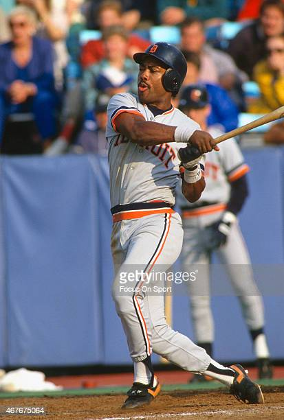 Chet Lemon of the Detroit Tigers bats during an Major League Baseball game circa 1983 Lemon played for the Tigers from 198290