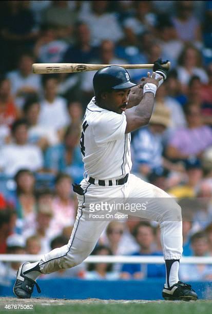 Chet Lemon of the Detroit Tigers bats during an Major League Baseball game circa 1983 at Tiger Stadium in Detroit Michigan Lemon played for the...