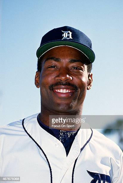 Chet Lemon of the Detroit Tigers smiles in this portrait during Major League Baseball spring training circa 1983 in Lakeland Florida Lemon played for...