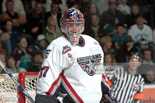 Chet Pickard of the Tri City Americans defends the net against the Kelowna Rockets on November 19 2008 at Prospera Place in Kelowna Canada