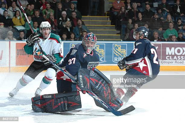 Chet Pickard of the TriCity Americans defends the net against the Kelowna Rockets on January 14 2009 at Prospera Place in Kelowna Canada Pickard is a...