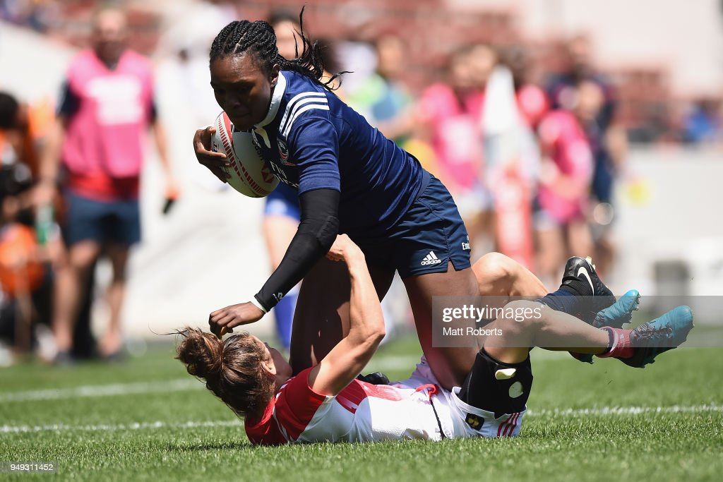 Cheta Emba of USA is tackled by Camille Grassineau of France on day one of the HSBC Women's Rugby Sevens Kitakyushu Pool match between France and USA at Mikuni World Stadium Kitakyushu on April 21, 2018 in Kitakyushu, Fukuoka, Japan.