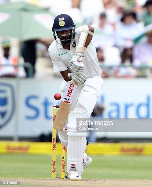 Cheteshwar Pujara in action during day 2 of the 1st Sunfoil Test match between South Africa and India at PPC Newlands on January 06 2018 in Cape Town...