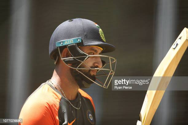 Cheteshwar Pujara of India bats during an India training session at Adelaide Oval on December 04 2018 in Adelaide Australia