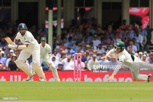 Cheteshwar Pujara of India bats during day 1 of the 4th test between Australia and India at Sydney Cricket Ground on January 03 2019 in Sydney...