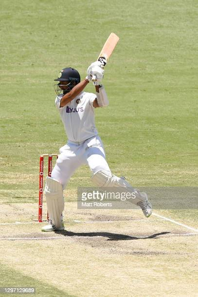Cheteshwar Pujara of India bats during day five of the 4th Test Match in the series between Australia and India at The Gabba on January 19, 2021 in...