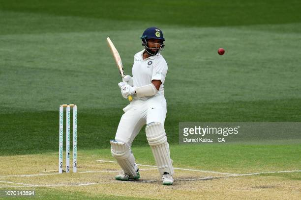 Cheteshwar Pujara of India bats during day four of the First Test match in the series between Australia and India at Adelaide Oval on December 9 2018...