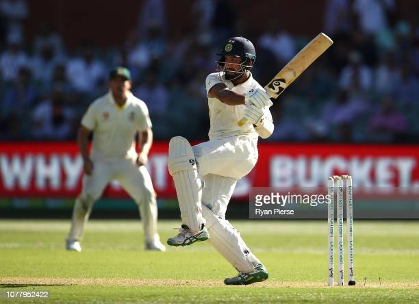Cheteshwar Pujara of India bats during day one of the First Test match in the series between Australia and India at Adelaide Oval on December 06 2018...