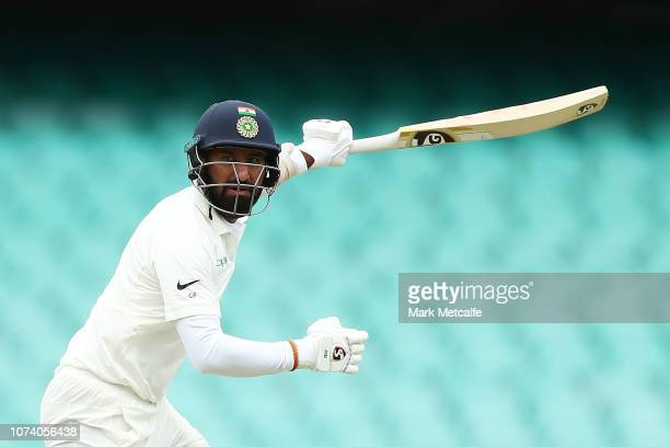 Cheteshwar Pujara of India bats during day two of the four day International Tour Match between the Cricket Australia XI and India at Sydney Cricket...