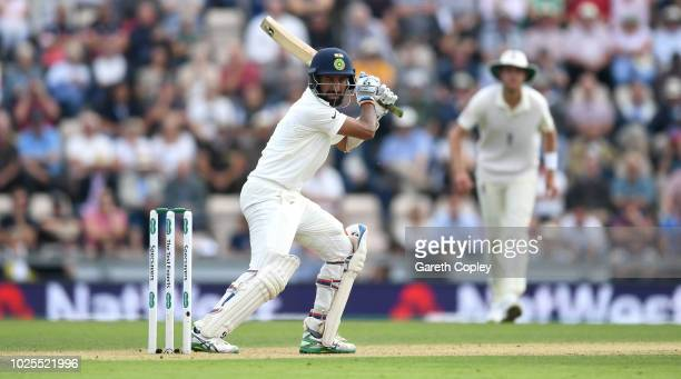 Cheteshwar Pujara of India bats during day two of the Specsavers 4th Test match between England and India at The Ageas Bowl on August 31 2018 in...