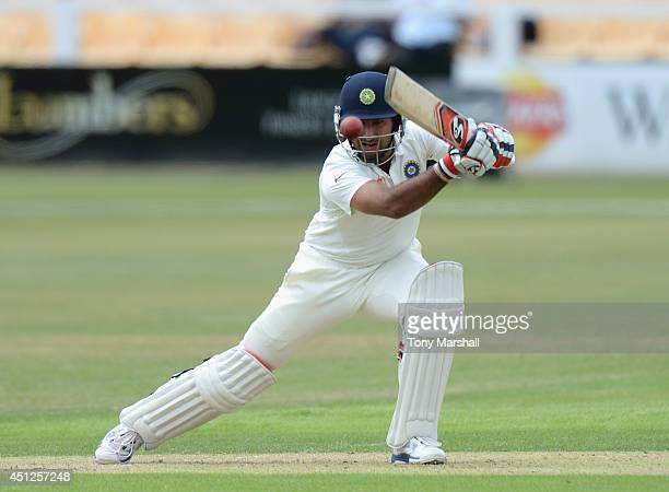 Cheteshwar Pujara of India batting during the Tour Match between Leicestershire and India at Grace Road on June 26 2014 in Leicester England