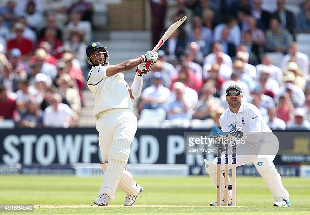 Cheteshwar Pujara of India hits out during day one of the 1st Investec Test between England and India at Trent Bridge on July 9 2014 in Nottingham...