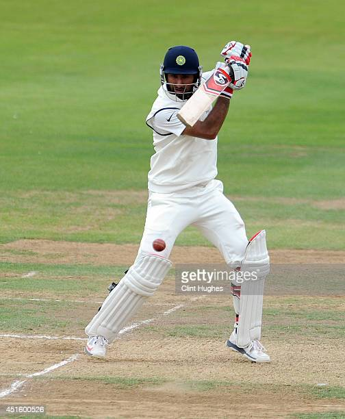 Cheteshwar Pujara of India in action during day two of the tour match between Derbyshire and India at The 3aaa County Ground on July 2 2014 in Derby...