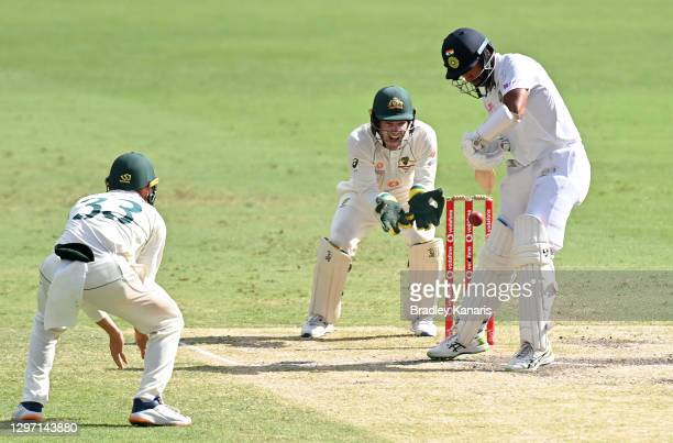 Cheteshwar Pujara of India plays a shot during day five of the 4th Test Match in the series between Australia and India at The Gabba on January 19,...